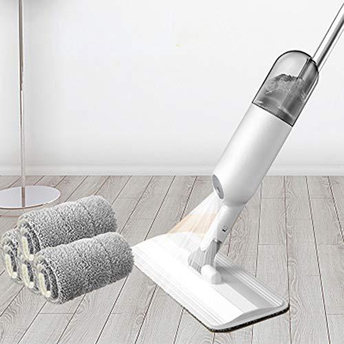 JKLJKL spray mop, natte en droge mop, wasbare 4 microvezelmatten, geschikt voor parketvloeren, laminaten, hout, tegels, glas