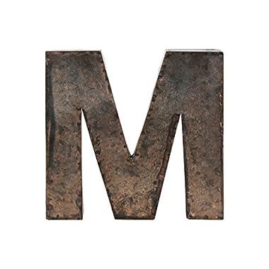 Urban Trends Metal Alphabet Wall Decor Letter  M  Galvanized Finish, Bronze