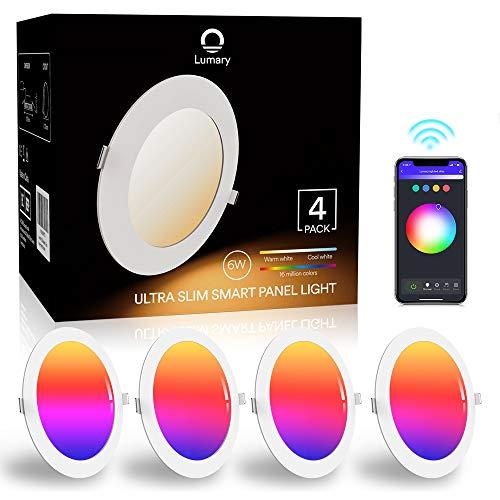 LED-Deckenleuchte, ultra-dünn, 6 W, 480 lm, Lumary, LED-Einbauleuchte, mit App-Steuerung, Kompatibel mit Alexa, Google Home (6 W-4 Stück)