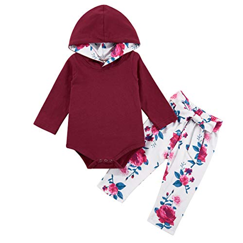 Infant Baby Girls Clothes Long Sleeve Hooded Romper with Floral Pants Sweatshirt Outfit Set 0-18 Months 0-3 Months Red Wine