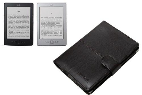 Leder Tasche für Amazon Kindle 4, schwarz