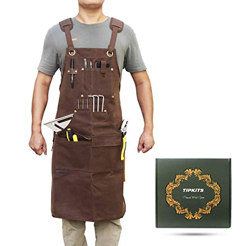 Tipkits Woodworking Apron with 9 Tool Pockets, Work Aprons 20 oz Waxed Canvas with Magnetic Holders, Shop Apron for Carpenter's Gift