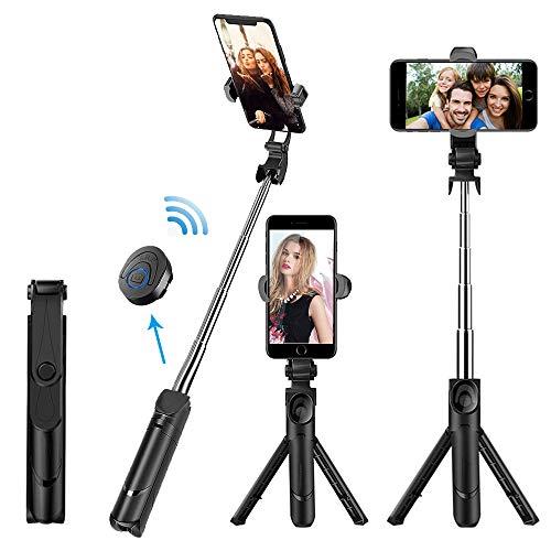 GiraVic Palo Selfie Trípode Bluetooth, Tripie para Celular, Mini Stick Movil Deportivo Extensible de…