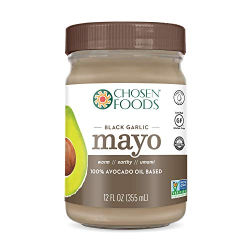 Chosen Foods Avocado Oil Mayo Black Garlic 12 oz., Non-GMO, Gluten Free, Dairy Free for Sandwiches, Dressings, Sauces and Recipes