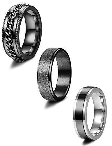 Jstyle 3Pcs Stainless Steel Fidget Band Rings for Women Mens Cool Spinner Rings 6/8MM Wide Wedding Pormise Band Ring Set Black Tone