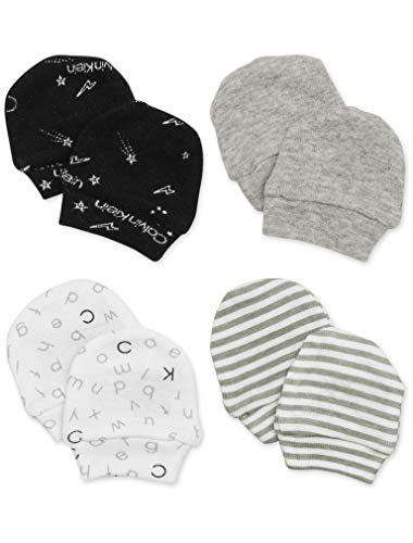 Calvin Klein Baby Mittens Gloves, Multipack, Signature, Alphabet, Solid Heather Grey, Stripe, One Size