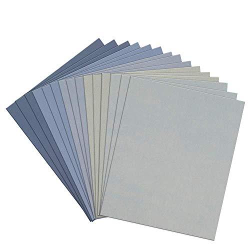 Akrcheft Nasses Trockenes Schleifpapier 230X280MM (9x11 zoll), Nassschleifpapier 800/1500/3000/5000/7000 Körnung Wasserschleifpapier, 15 Stück