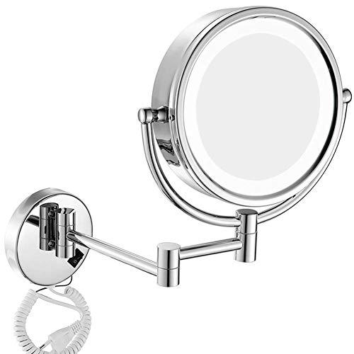 Mirror Aumento 3x/5x/7x/10x Espejos de Aumento de Pared,8inch Doble Cara Espejo de Baño con Luces LED,Rotación de 360º Cosmética Espejo,Silver,10x