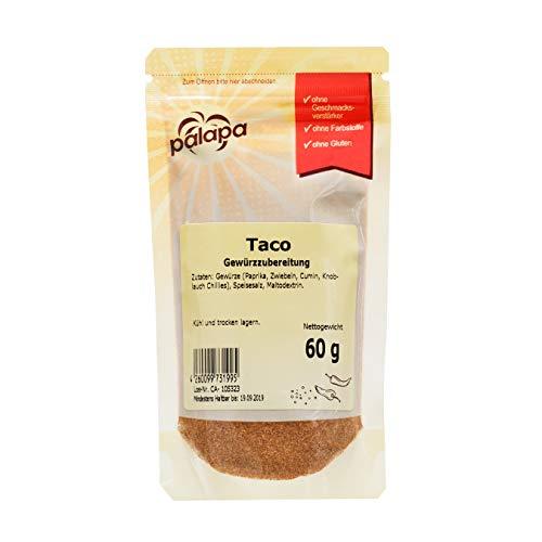 Palapa Taco Gewürzmischung Zip | 60g | Mexikanische Küche | pikant, würzig & anregend | Kombination aus Chili und andern Gewürzen | mexikanische Züge und eine milde Schärfe | Hervorragender Geschmack