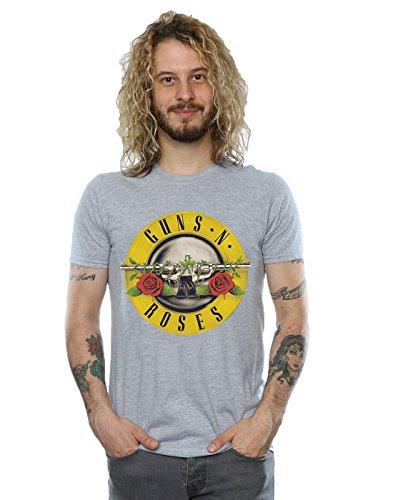 Guns N Roses hombre Bullet Logo Camiseta Small cuero gris