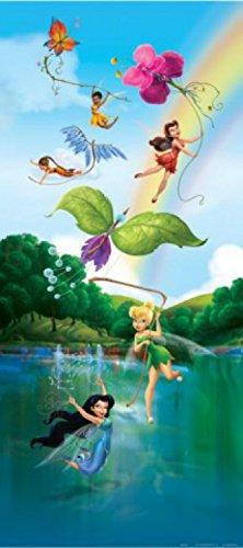 1art1 Disney Fairies - Tinkerbell, Silberhauch, Rosetta Und Feen, Farbenfrohe Schmetterlinge Und Regenbogen Fototapete Poster-Tapete 202 x 90 cm