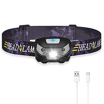 LYYDAN Lampe frontale LED rechargeable USB IPX4 étanche avec système d'induction intelligent et 3 modes d'éclairage pour la pêche, la course à pied, le camping