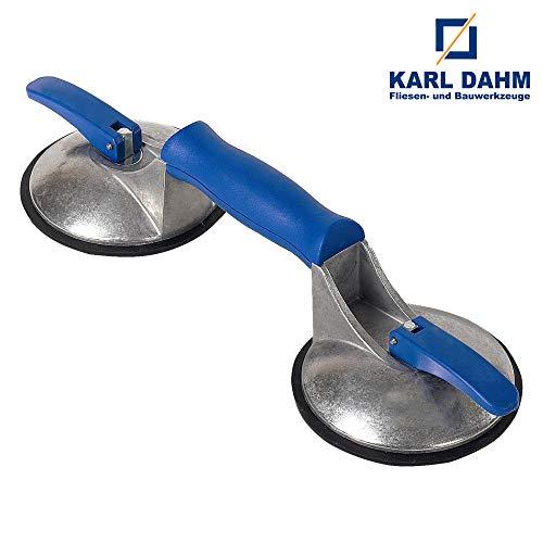 Karl Dahm 2-Kopf Vakuum Saugheber für glatte und strukturierte Oberflächen I Vakuumheber mit starker Saugkraft bis ca. 50 kg I Vakuum Saugnapf für Fliesen, Marmor, Terrazzo, Blechen, Glas etc. – 11775
