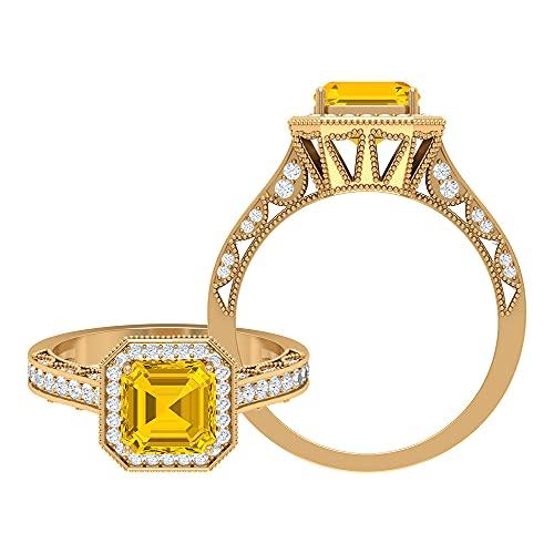 Anillo de compromiso de 4,50 ct para mujer con zafiro amarillo creado y acento moissanita, anillo vintage de oro (calidad AAAA), 14K Oro amarillo, Size:EU 53