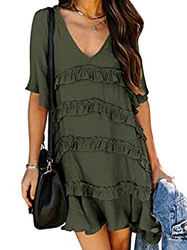 MYMORE Women s Quad Tiered Ruffle Layer Mini Dress Deep V Neck Half Flutter Sleeves Casual Dresses