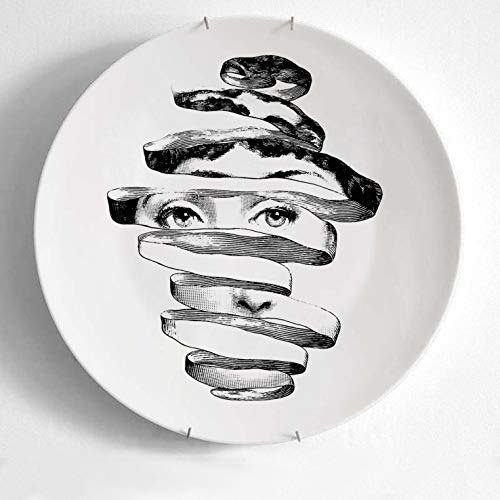 Piatto Decorativo da Appendere in Ceramica Piatto Nordico da Appendere a Parete Decorazione Piatto Creativo Decorazione da Parete Piatto retrò Diametro 20 cm Cachi