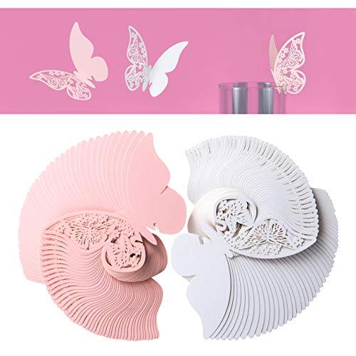 Kesote 100 Tarjetas de Nombre de Mariposa Etiquetas Decorativas en Copa Mesa para Boda Fiesta de Cumpleaños Bautizo (50 Blanca y 50 Rosa)