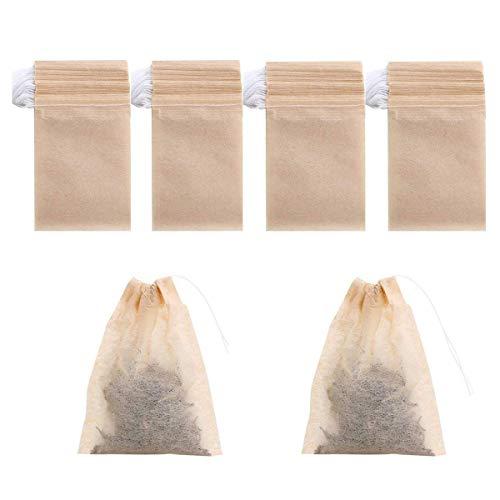 400 Pack Disposable Drawstring Tea Filter Bags Safe & Natural Unbleached Paper Tea Infuser Drawstring Empty Bag for Loose Leaf Tea (Natural Color One Size)