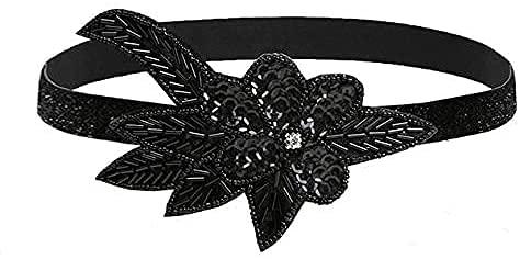 XLKJ 1920 Diadema de Flor, Diadema de Cuentas para Mujer de los Años 20 Banda de Pluma Disfraz Gatsby Accesorio (Estilo de Flor)