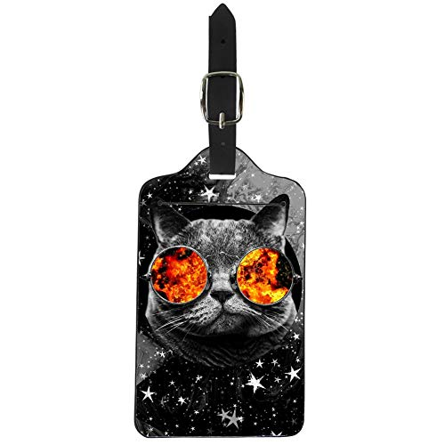 Upetstory Lovely Cat Star Luggage Tags ID Card Holder for Cruise Ships Kids Suitcase Labels for Boys Girls Black