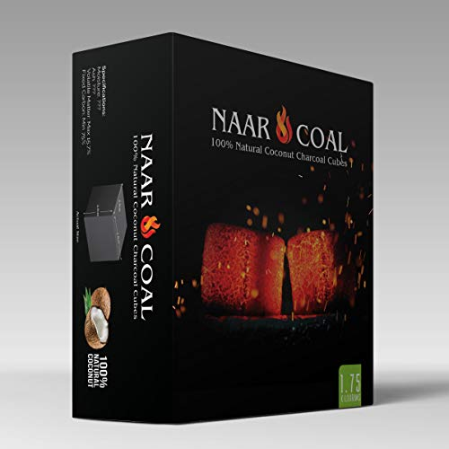 Naar Coal 100% Natural Coconut Hookah Charcoal Cubes, Shisha Coals 1.75 KG, 126 Count
