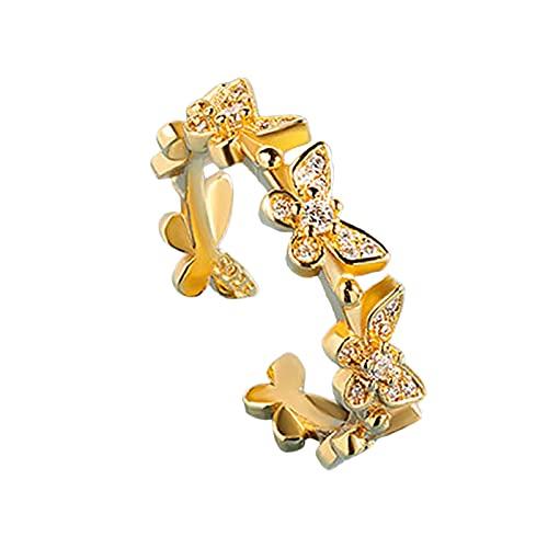 minjiSF Anillo abierto de mariposa para mujer, anillo de compromiso para mujer, anillo de boda con brillantes, anillo de cristal, hermoso ajustable, joya para regalo, anillo femenino (oro)