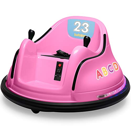 Kidzone 12V 2 Speed Bluetooth Music Kids Toy Electric Ride On Bumper Car 360 Spin Battle Vehicle with Remote Control, DIY Race# 00-99 and Alphabet Stickers, ASTM-Certified, Pink