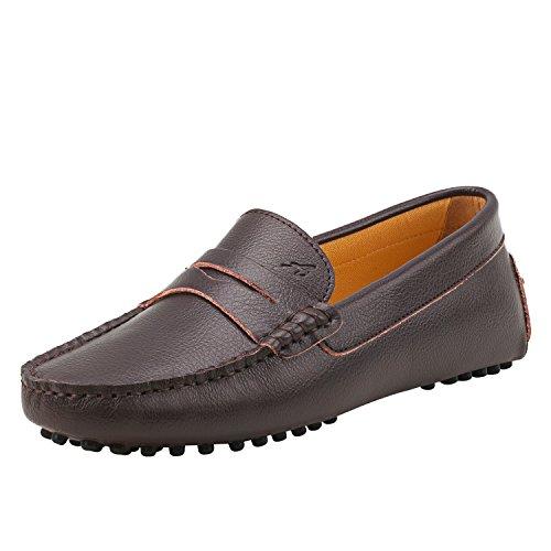 Shenduo Damen Driving Mokassin Leder Schuhe Casual Slipper Sommer Halbschuhe Freizeit D7052 Braun 36