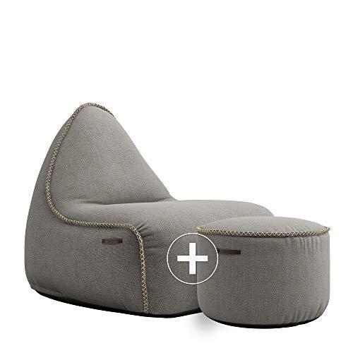 SACKit - RETROit Medley Grey - Grau Indoor Sitzsack + Hocker. Sitzsack mit Lehne und Füllung mit EPS Kugeln und Schaumstofffüllung für einen optimalen Sitting Point - Großer Sitzsacke für Erwachsene