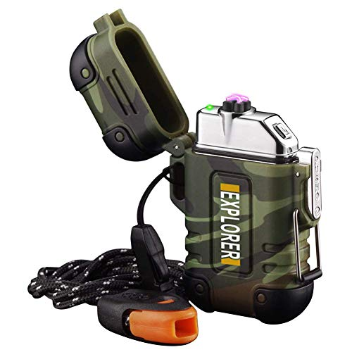 Arc Lighter Outdoor Waterproof Windproof Plasma Lighter Rechargeable USB Electronic Lighters with Emergency Whistle for Camping,Adventure,EDC Survival Tactical Gear (Camouflage)
