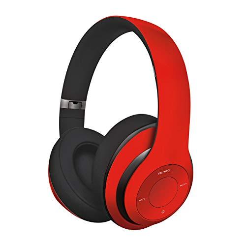 Freestyle ROT Kabelloser Bluetooth-Kopfhörer mit integriertem 4-in-1 Mikrofon, FM-Radio, Musik-Player (von Micro-SD), Aux-In