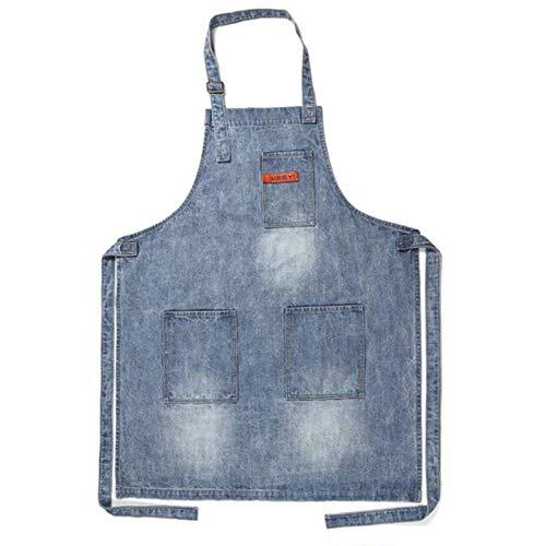 VWCDO Vintage Blauw Keuken Denim schorten Voor Mannen Vrouwen Unisex Huiskleding Werkkleding Koken Chef Barista Barman