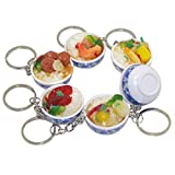 6pcs Mini Lifelike Simulation Flower Bowl Rice PVC Delicious Food Cell Phone Charm Bag Strap Pendant Key Chain