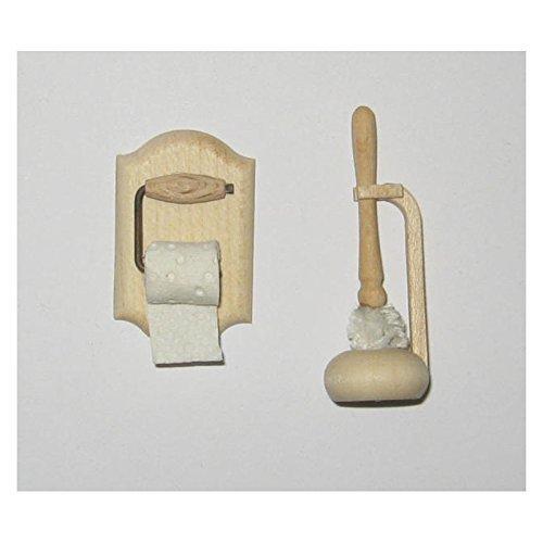 Unbekannt Liebe 46035 Toilettenset Bürste Klopapier + Halter 1:12 für Puppenhaus