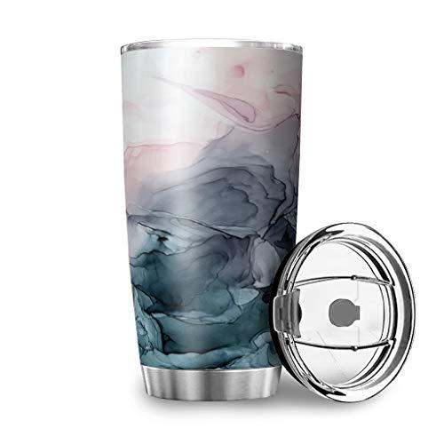 MiKiBi-77 Vaso abstracto con tapa de acero inoxidable aislado al vacío divertido taza de viaje con tapa para bebidas calientes y bebidas frías, blanco 20 onzas