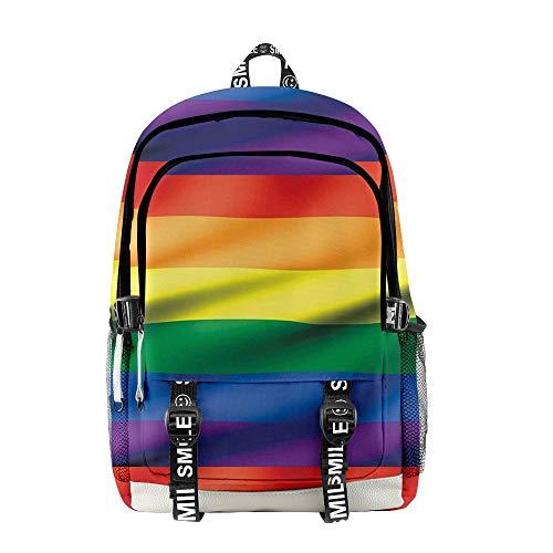 INSTO Backpack,School Bag Student Satchel,LGBT Cartoon Printed Rucksack Simple Casual / A3 / 30×18×44cm