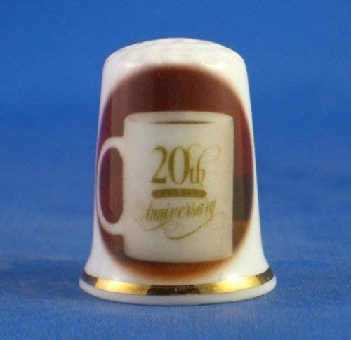 Porcelain China Collectable Thimble - 20th China Wedding Anniver