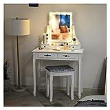 Xu Yuan Jia-Shop Conjunto de tocador de Maquillaje 4 cajones Tanity Table con 1 Mesa de tocador de Caja de Almacenamiento extraíble con Espejo y Taburete Acolchado, Blanco Juego de Tocador