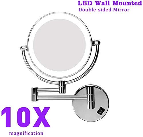 Excelvan Espejo de Pared con Aumento 10X y Normal, con Luz LED, 8 Pulgadas, Redondo Giratorio de 360 Grados para Baño y Maquillaje, Plateado