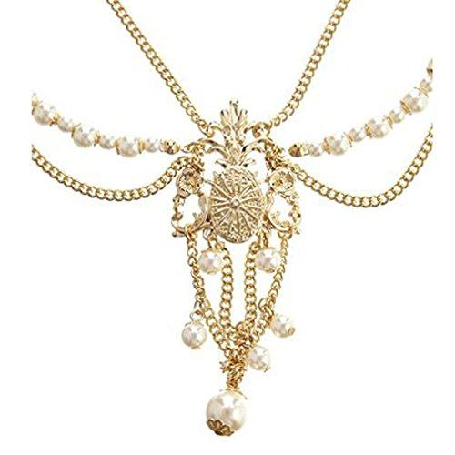 Yazilind Damen Hübsche Goldlegierung-Perlen-Haarband Kopfschmuck