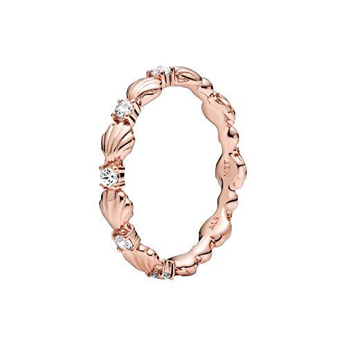 Pandora Anillo de concha brillante con rosa, tamaño 56
