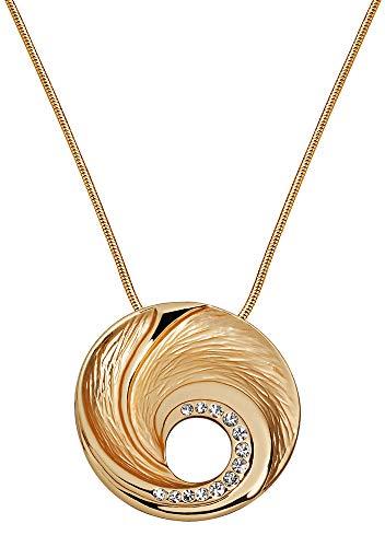 Perlkönig Kette Halskette | Damen Frauen | Silber Gold Farben | Runder Anhänger | Glitzer Steine | Nickelabgabefrei