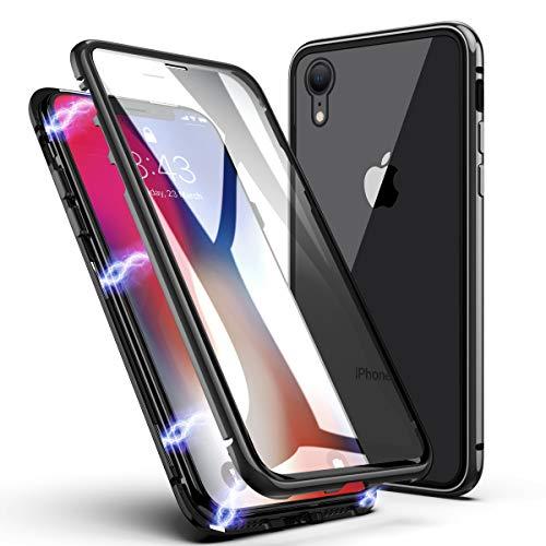 Funda para iPhone XR, ZHIKE Estuche de Adsorción Magnético Frente y Parte Posterior de Vidrio Templado Cobertura de Pantalla Completa Diseño de una Pieza Cubierta con Tapa para iPhone XR (Negro Claro)