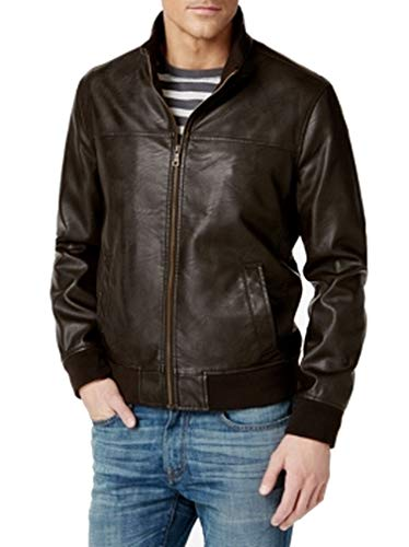 Tommy Hilfiger Men's Smooth Lamb Faux Leather Unfilled Bomber Jacket, Dark Brown, L