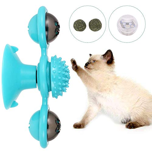 Auidy_6TXD Pet Windmühle Drehscheibe Teasing Spielzeug Interaktives Katzenspielzeug Scratch Haarbürste Haustierzubehör