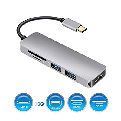 FIESAND USB C Hub, Type C to HDMI 4K Adapter with 2 USB 3.0 Ports SD/TF Card Reader