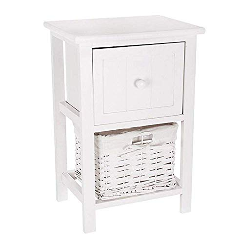 SDWCWH Home Standing Table,White Wooden Bedside Cabinet Table,Practical Desk,White