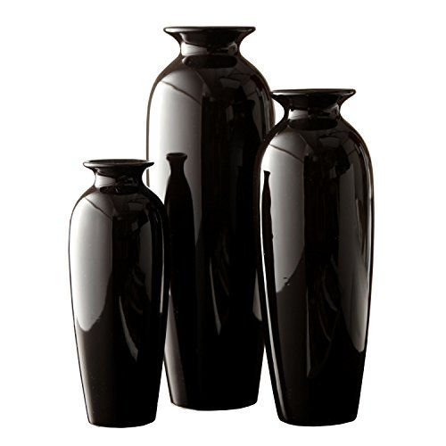Hosley Set of 3 Black Ceramic Vases in Gift Box. Ideal Gift for Wedding or Special Occasions for Use in Home Office Decor Floor Vases Spa Aromatherapy Settings O9