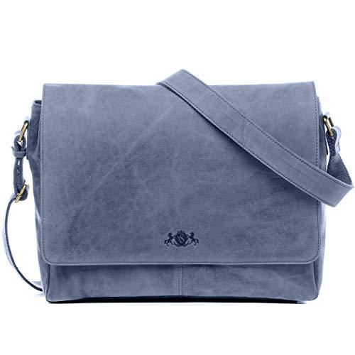 SID & VAIN Laptoptasche Messenger Bag echt Leder Spencer groß Businesstasche 15 Zoll Laptop Umhängetasche Laptopfach Ledertasche Herren blau