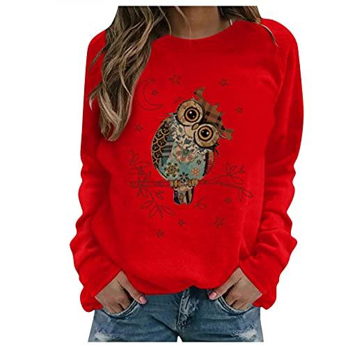 Sudaderas Sin Capucha para Mujer Camisetas de Manga Larga Cuello Redondo con Estampado de animal Blusas Primavera Otoño Básicas Suelto Tops blusas Oversize Pullover Sweatshirt pullover